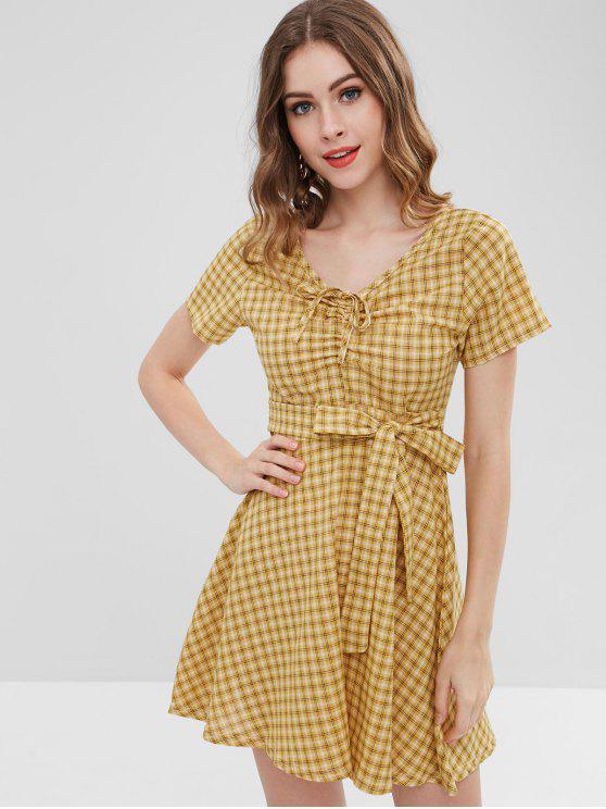 ladies Tie Waist Tartan Dress - YELLOW L