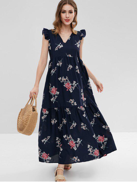 فستان مكسي بطبعات ازهار - ازرق غامق S