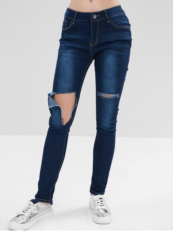 ladies Hole Ripped Jeans - BLUE 2XL