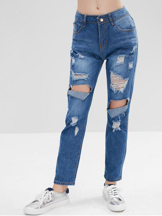 online Hole Distressed Jeans - BLUE XL
