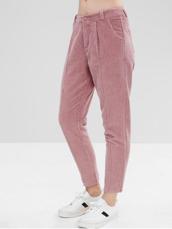 Pantaloni In Velluto A Coste Con Cerniera - Rosa L