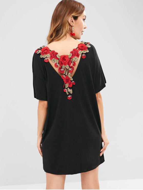 Mini Robe Chemise Applique Fleur au Crochet - Noir L