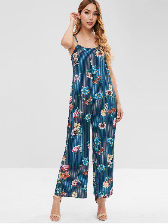 fancy Wide Leg Striped Floral Print Cami Jumpsuit - MULTI S