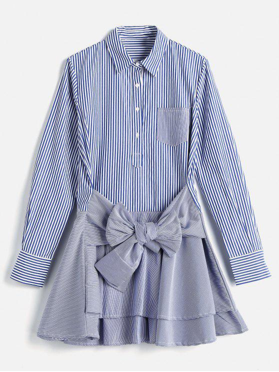 buy Long Sleeve Striped Tier Shirt Dress - BLUE S