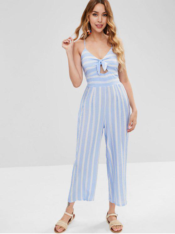 bd18655bb6dd 2019 Knotted Striped Wide Leg Jumpsuit In LIGHT BLUE L