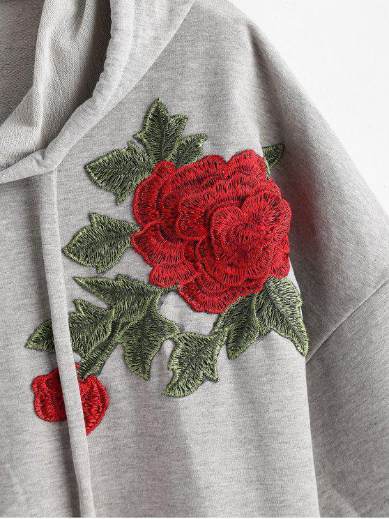 Demi Applique À Gris Capuche Florale Sweat manchesNuage L R5j43ALq