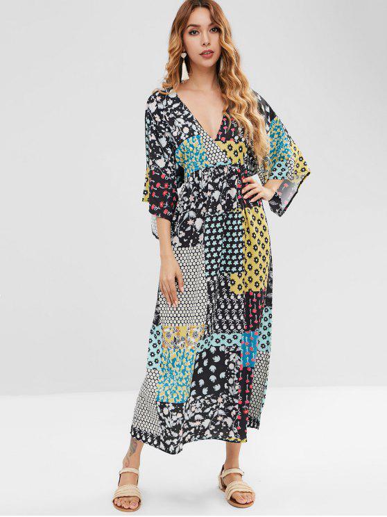 المرقعة طباعة شاطئ ماكسي فستان القفطان - متعدد L