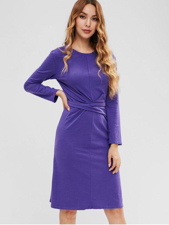 unique Knotted Slit Casual Dress - PURPLE SAGE BUSH M