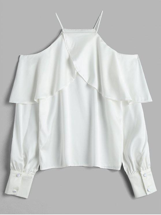 61c1dccb1c06f1 30% OFF] 2019 Flowing Satin Cold Shoulder Top In WHITE | ZAFUL