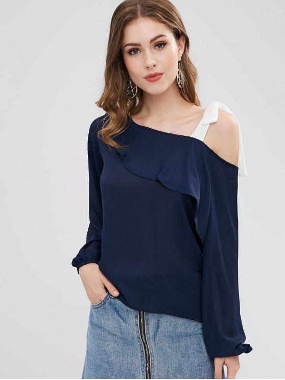 chic Ruffle Cold Shoulder Blouse - MIDNIGHT BLUE ONE SIZE