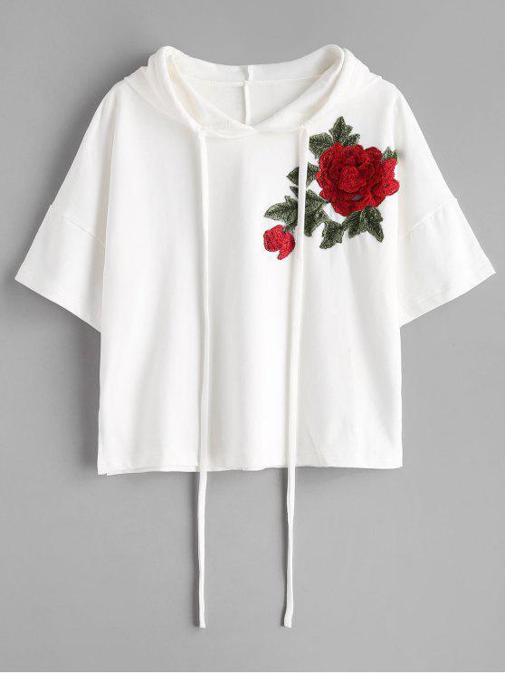 Sweat à Capuche Applique Florale à Demi-Manches - Blanc M
