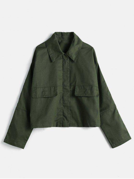 ladies Drop Shoulder Zip Back Slit Jacket - ARMY GREEN L