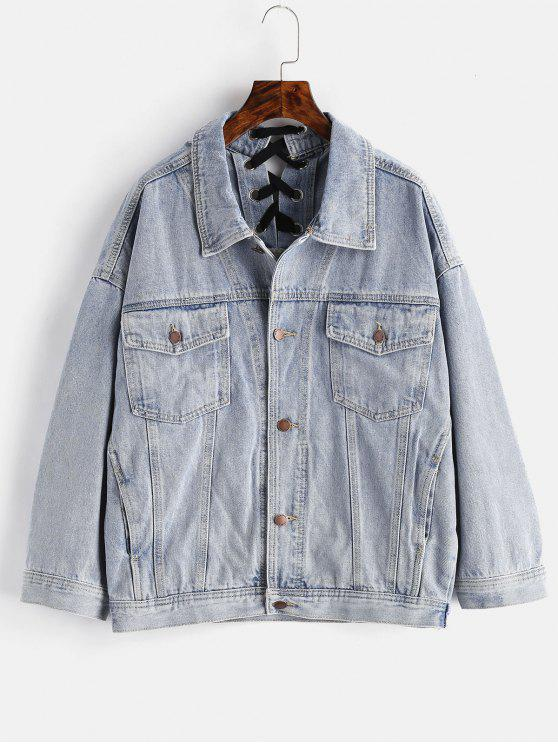 sale Back Lace-up Jean Jacket - DENIM BLUE S