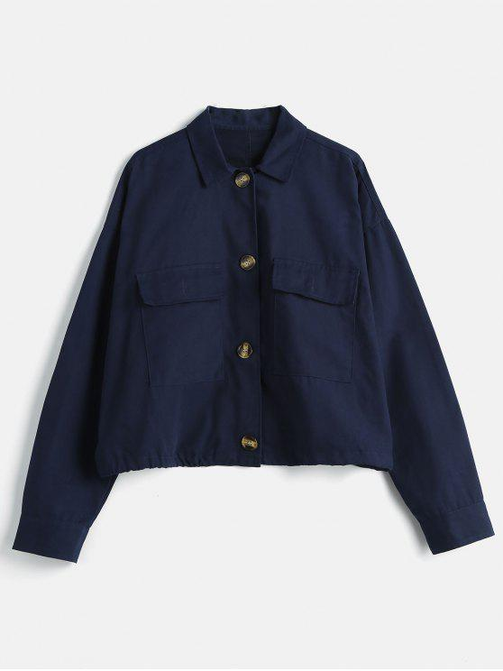 Veste à Goutte Epaule avec Poche Surdimensionnée - Bleu Foncé L