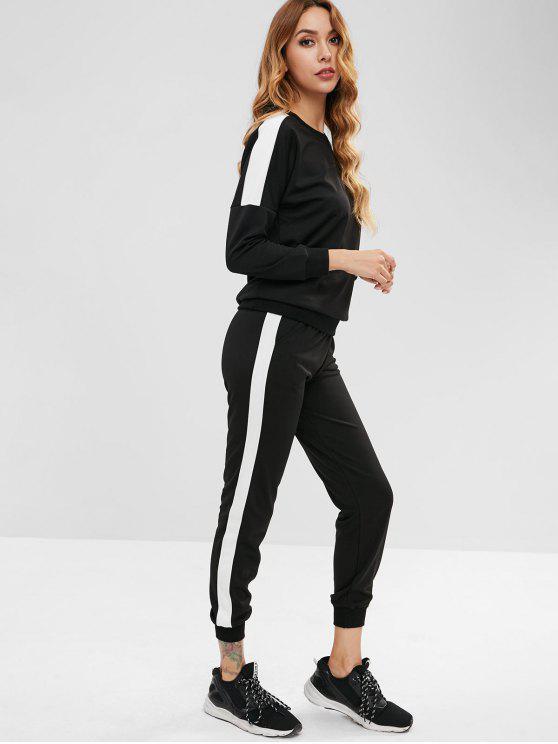 sale Drop Shoulder Sweatshirt and Jogger Pants Set - BLACK L