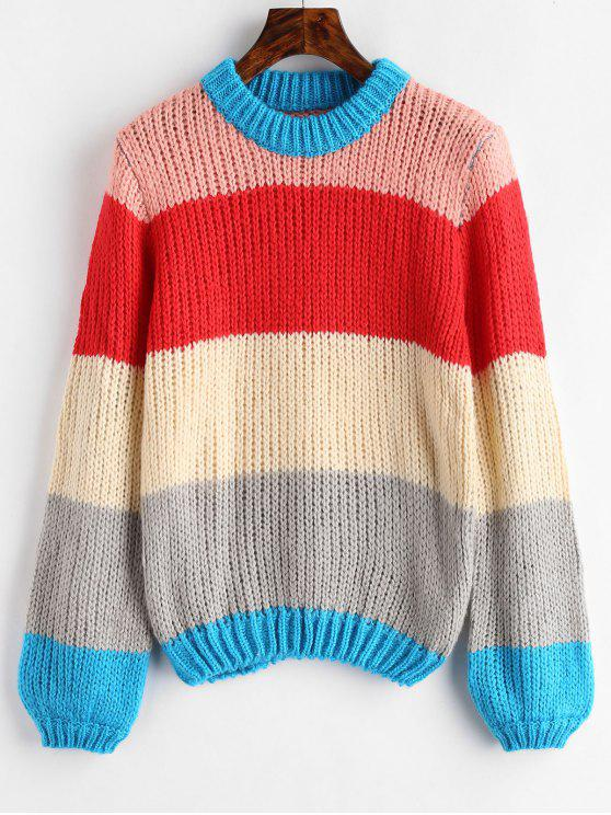 lady Chunky Color Block Sweater - MULTI-A ONE SIZE