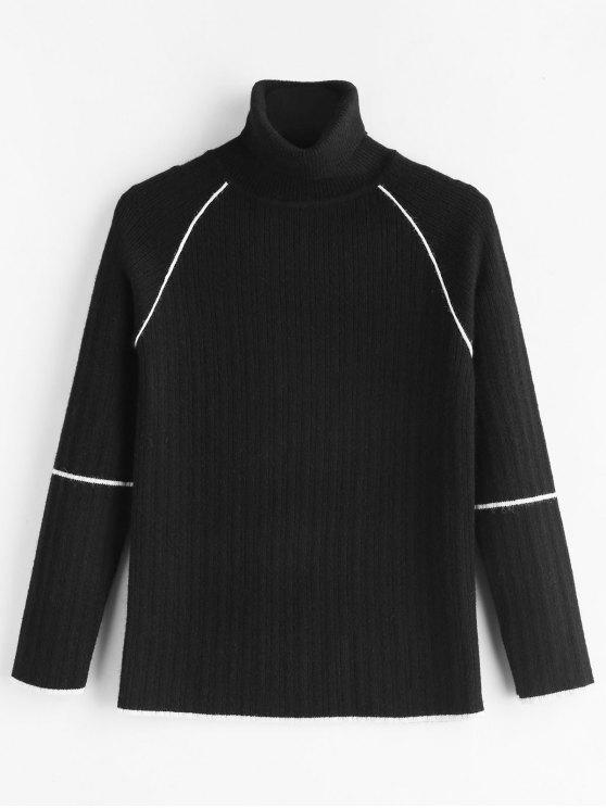 shops Piping Turtleneck Knitted Top - BLACK ONE SIZE