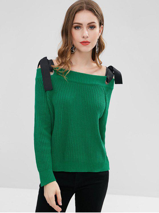 womens Tie Shoulder Long Sleeve Sweater - GREEN ONE SIZE