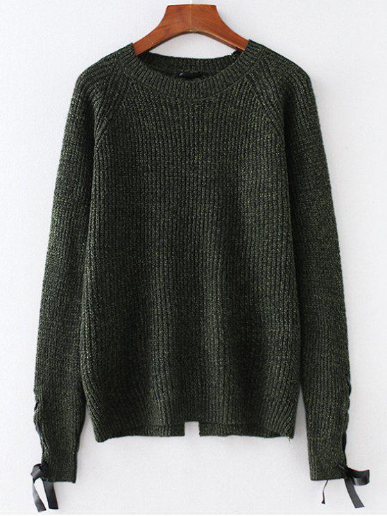 fd2e34967e363e 55% OFF] 2019 Heathered Lace Up Sweater In DARK FOREST GREEN | ZAFUL