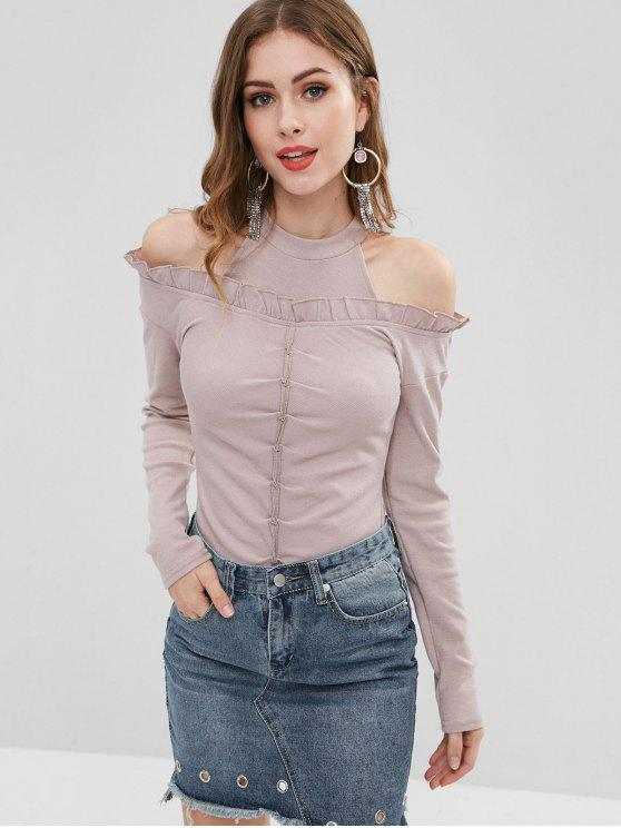 online Ruched Ribbed Cold Shoulder Knitwear - LAVENDER PINOCCHIO ONE SIZE