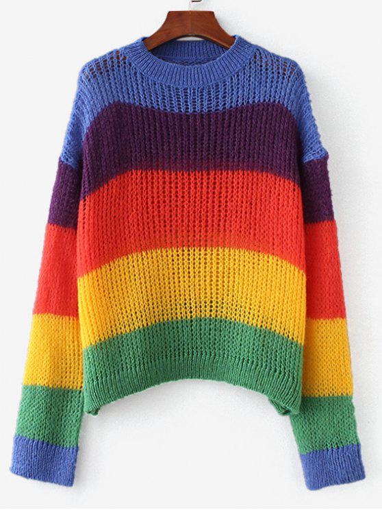 4deed0d8dfa8d 20% OFF  2019 Colorful Stripes Oversized Sweater In MULTI