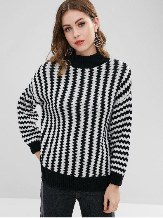 fancy High Neck Zig Zag Sweater - BLACK ONE SIZE
