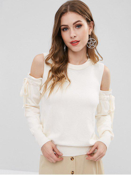 affordable Cold Shoulder Tied Bowknot Sweater - WHITE ONE SIZE
