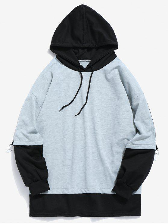 women Two Tone False Two Piece Hoodie - BLUE GRAY M