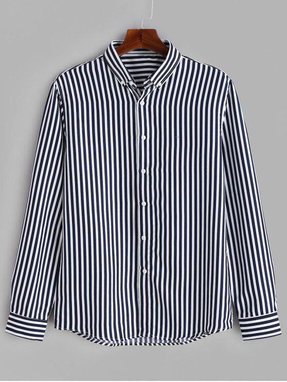 best Casual Striped Button Down Shirt - BLUE S