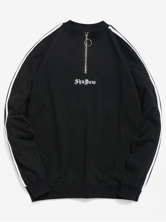 shop Embroidery Letter Striped Quarter Zip Sweatshirt - BLACK 3XL
