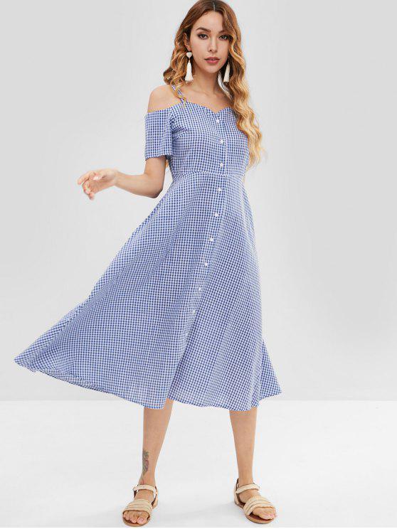 Robe Chemise à Epaule Dénudée Ligne A en Vichy - Bleu L