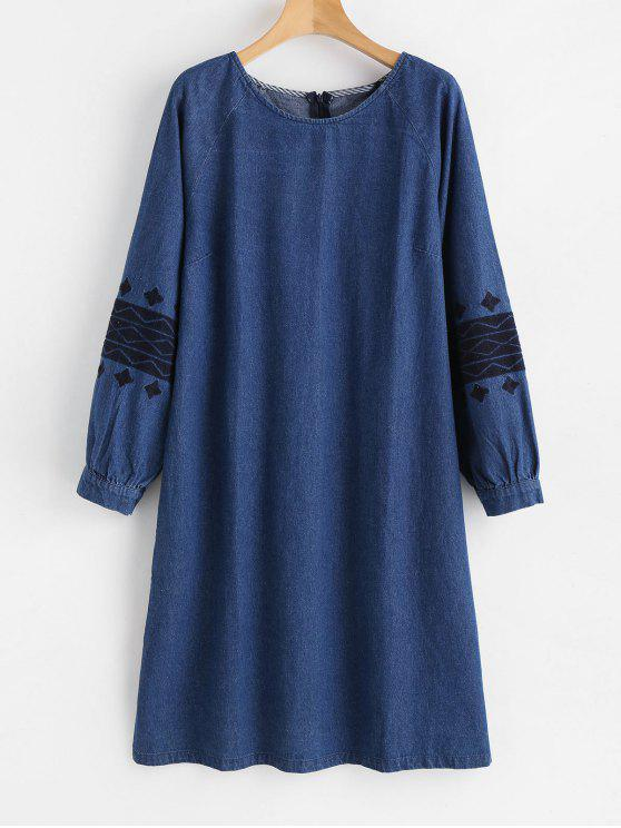 shop Embroidered Side Slit Denim Dress - DENIM DARK BLUE M