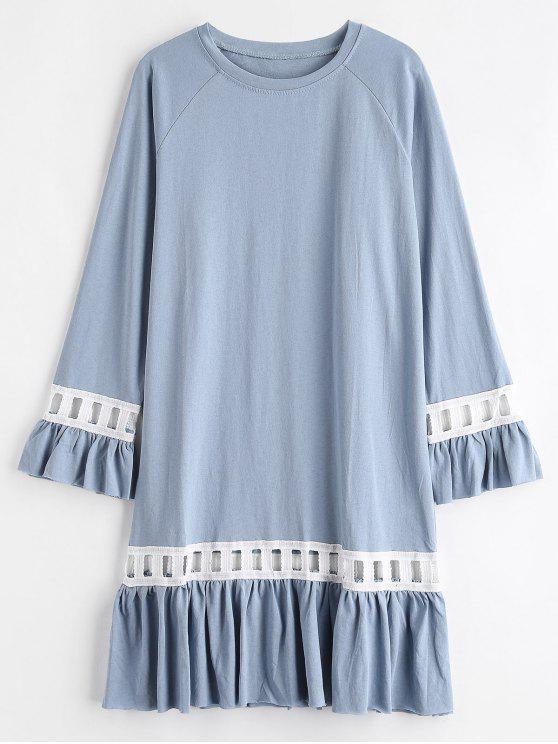الكشكشة الكروشيه تريم فستان عارضة - ازرق رمادي حجم واحد