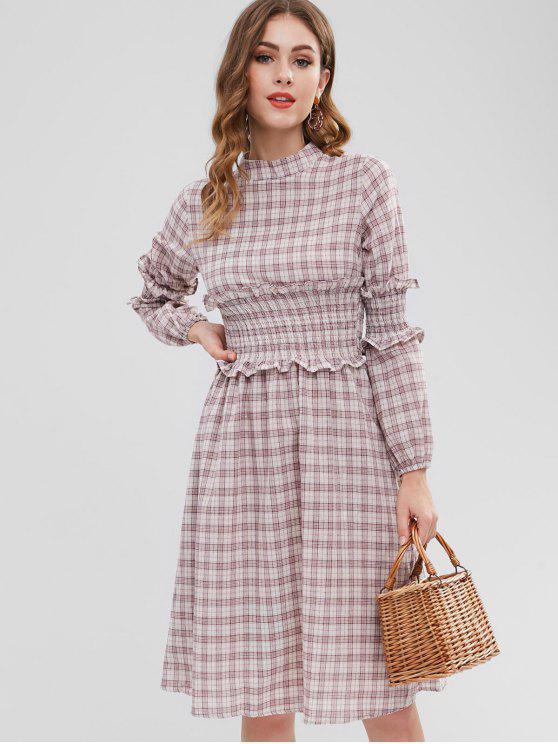 lady Smocked Long Sleeve A Line Dress - PINK ONE SIZE
