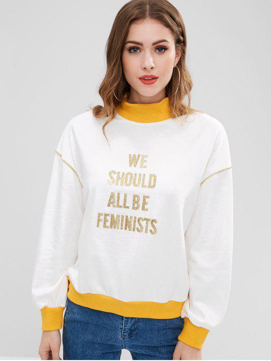 women's Piping Graphic Mock Neck Sweatshirt - WHITE M
