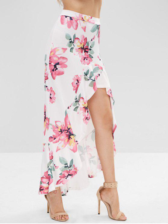 999856c3ca3347 25% OFF] 2019 Flounce High Low Maxi Floral Skirt In MULTI | ZAFUL ...
