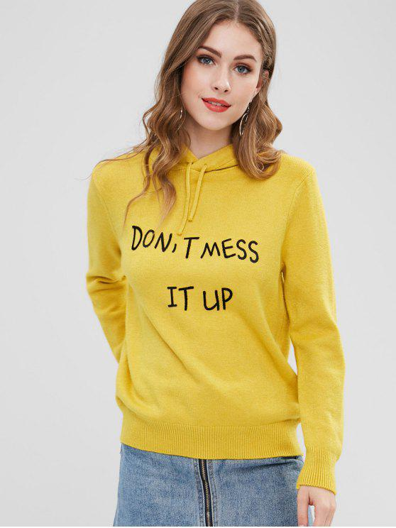 chic Graphic Hooded Sweater - CORN YELLOW ONE SIZE