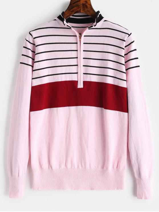 ladies Half Zip Stripe Mock Neck Sweater - LIGHT PINK XL