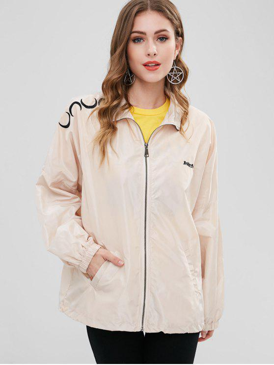 online Embroidered Mesh Lining Windbreaker Jacket - WARM WHITE ONE SIZE