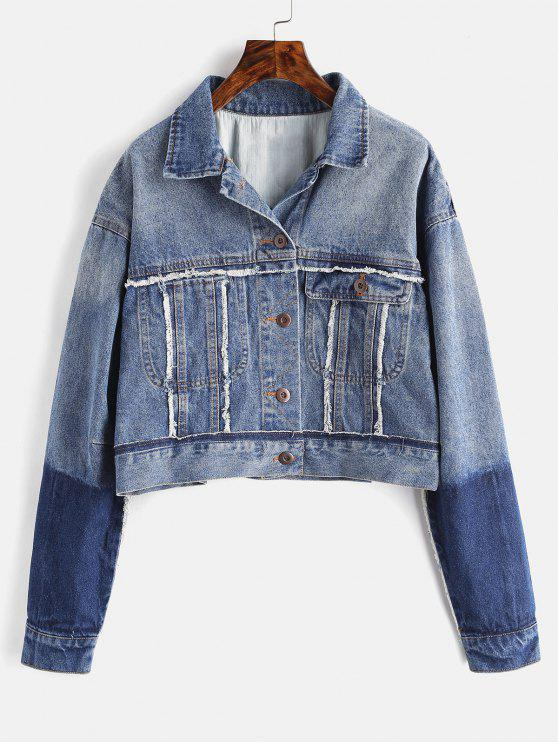 trendy Ripped Panels Denim Jacket - DENIM BLUE S