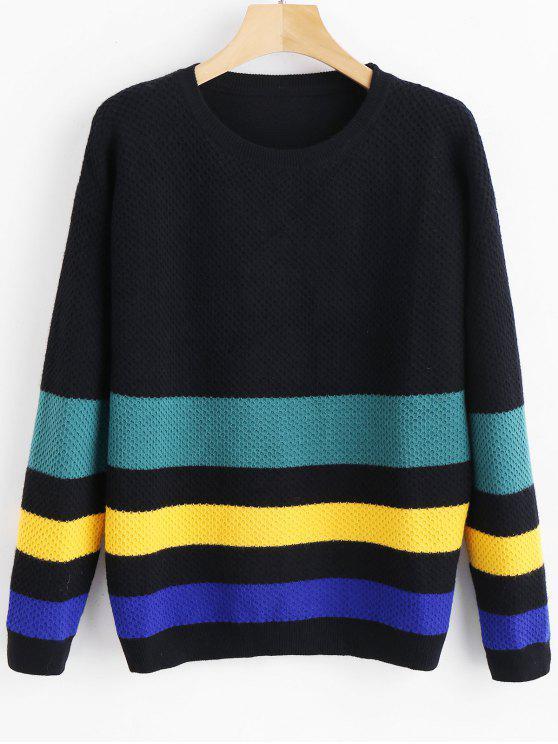 best Loose Color Block Sweater - MULTI ONE SIZE