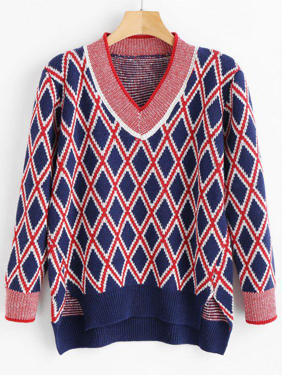 sale High Low Argyle Sweater - MULTI ONE SIZE