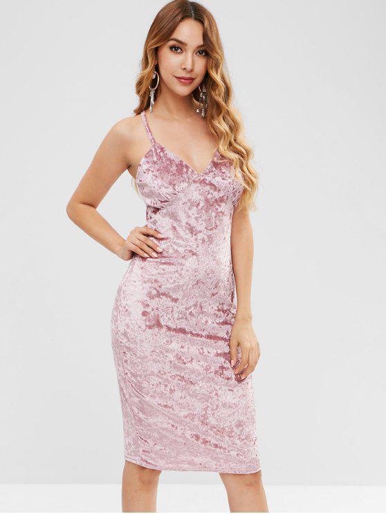 women Empire Waist Velvet Slip Dress - PINK M
