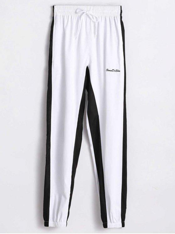 Pantalones de cintura alta de dos tonos - Blanco M