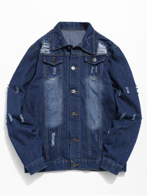 chic Ripped Hole Patch Denim Jacket - DENIM BLUE M