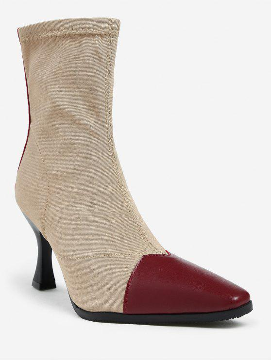 trendy ZAFUL Contrasting Pointed Toe Cap Stiletto Heel Short Boots - CHESTNUT RED 36