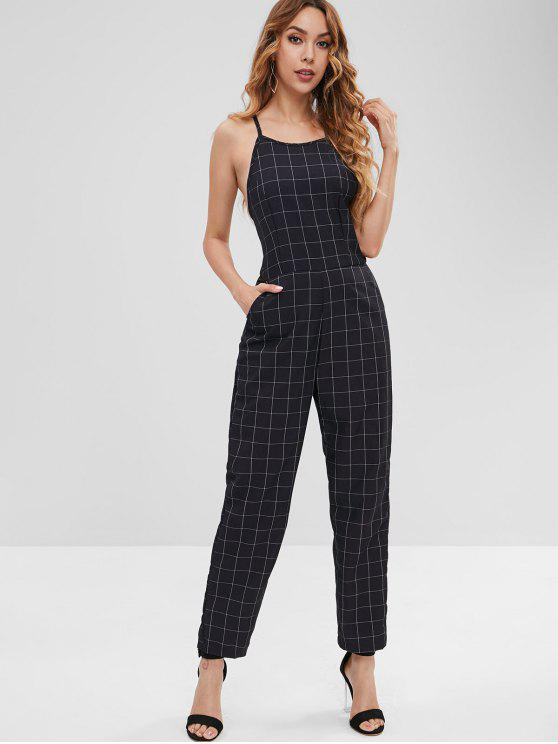 hot ZAFUL Checked Straight Jumpsuit - BLACK S