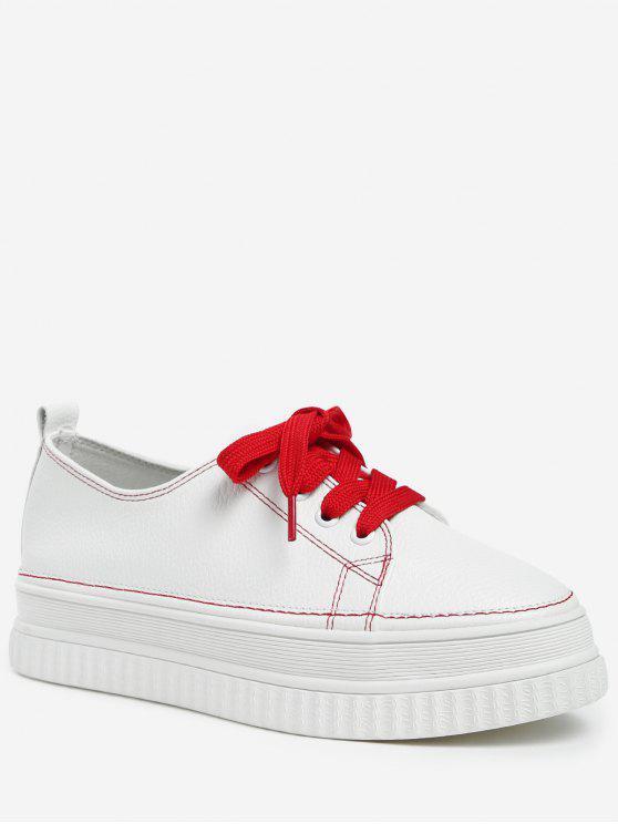 Zapatillas de deporte de plataforma de cuero con cordones - Castaño Rojo 37