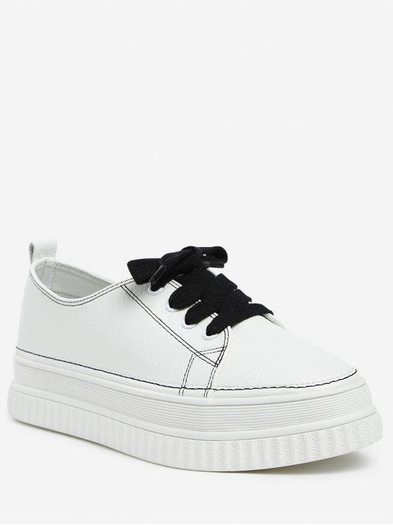 fashion Lace Up PU Leather Platform Sneakers - BLACK 36