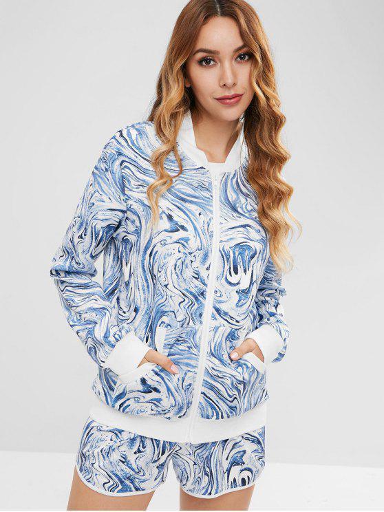 latest ZAFUL Printed Jacket And Drawstring Shorts Set - CADETBLUE M